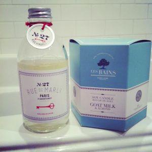 Rue De Marli  Foaming Bath, No. 27 & Les Bains soy candle Goat Milk & Almond