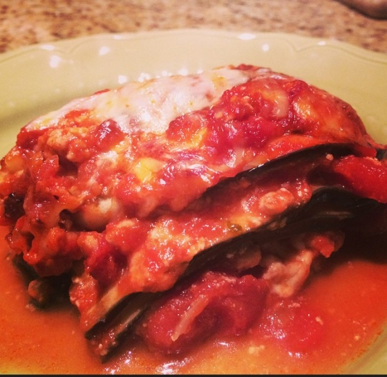eggplant lasagne cozy sweater cafe