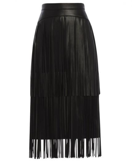 bcbg black frindge skirt