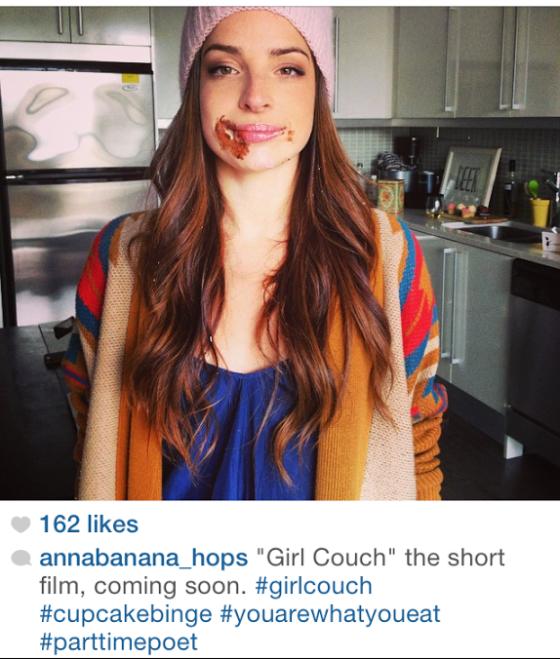 Girl Couch cupcake binge