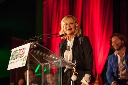 amy poehler.JFL award. cozy sweater cafe