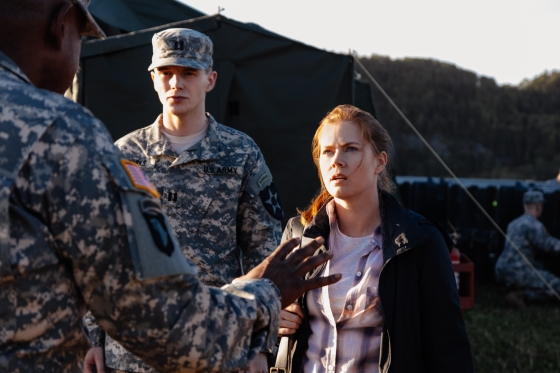 ARRIVAL (L-R) Forest Whitaker as Col. Weber, Mark O'Brien as Captain Marks, and Amy Adams as Louise Banks in ARRIVAL by Paramount Pictures Photo credit: Jan Thijs © 2016 PARAMOUNT PICTURES. ALL RIGHTS RESERVED.