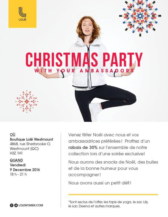 Enjoy 30% off all day Friday December 9th at LOLË in Westmount and some bubbly at the party from 6-9!