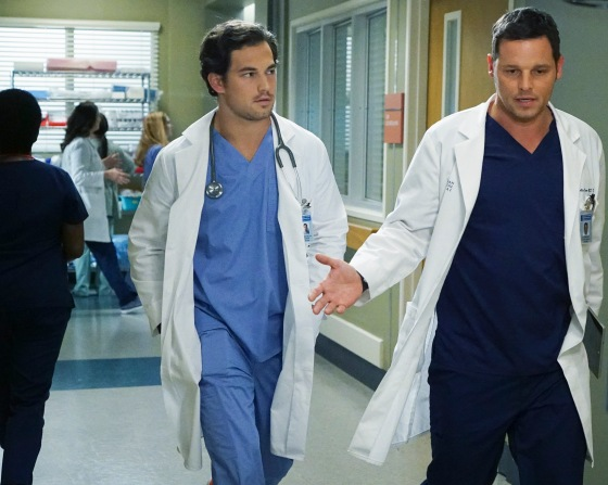 """GREY'S ANATOMY - """"I Choose You """" -- Maggie reevaluates her life choices after receiving an invitation to her ex-boyfriend's wedding; Richard questions Bailey's loyalty, and Jo confides in Stephanie about a secret she's been keeping from Alex. Meanwhile, Alex struggles with making a difficult decision that will affect the lives of newborn twins, on """"Grey's Anatomy,""""THURSDAY, OCTOBER 8 (8:00--9:00 p.m., ET) on the ABC Television Network. (ABC/Richard Cartwright) GIACOMO GIANNIOTTI, JUSTIN CHAMBERS © 2015 American Broadcasting Companies, Inc. All rights reserved."""